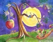 Apple Tree Moon Night Music Postcard watercolor painting