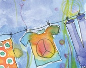 Peace Love Laundry Summer Day Watercolor Art Greeting Card A2 Blank