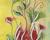 Sacred Heart Tie Dye Lotus Blank Greeting A2 card handpainted