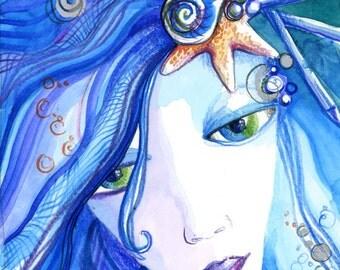 Colorful Blue Watercolor Mermaid Original Painting