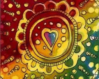Rainbow Sacred heART blank greeting card handpainted