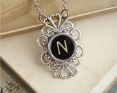 Typewriter Key Jewelry - Letter N Vintage Typewriter Key Necklace. Black Initial Pendant with Fancy Filigree Sterling Silver Setting.