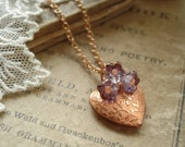 PETITE POSIE - Copper Heart Necklace. Vintage Copper Heart Charm and Purple Glass Flowers Necklace. Sweet, Rustic, Romantic, Garden Jewelry.