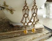 DECO DANGLERS - Antiqued Brass Chandelier Earrings. Vintage Brass Art Deco Earrings with Swarovski Crystals. Rustic Jewelry.