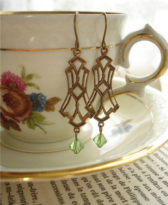 DECO DANGLERS - Vintage 1960's Brass Art Deco Style Drops and Green Peridot Swarovksi Crystals on Antiqued Brass Shepherd's Hook Pierced Earrings - Pieces of the Past Collection - PreciousPastimes - SRAJD