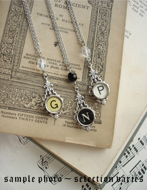 Typewriter Key Jewelry - CUSTOM Made To Order Vintage Typewriter Key Letter Necklace. Sterling Silver Setting and Sparkling Crystal.