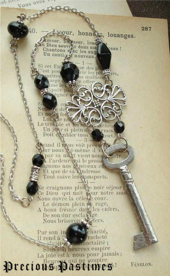 UNLOCKED - Antique Skeleton Key Necklace. Vintage Silver Key with Sparkling Glass Crystal Beaded Chain in Black. Gothic Steampunk Necklace.