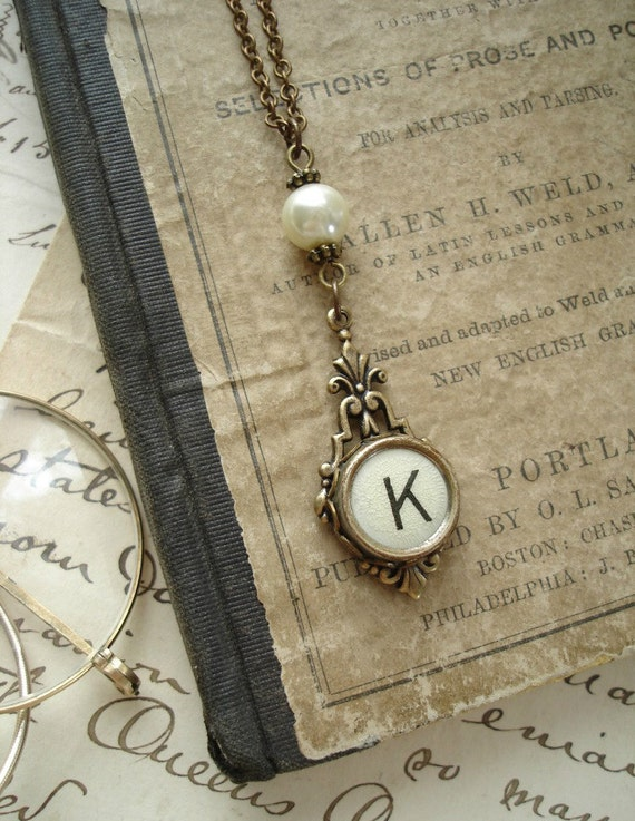 Typewriter Key Jewelry - Yellow Letter K Vintage Typewriter Key Necklace. Antiqued Brass with Ivory Glass Pearl. Salvaged Rustic Jewelry.