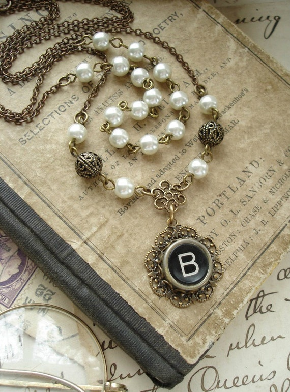 Typewriter Key Jewelry - Black Letter B Vintage Typewriter Key Double Chain Necklace, Antiqued Brass Filigree, Ivory Pearls. Dressy Jewelry.