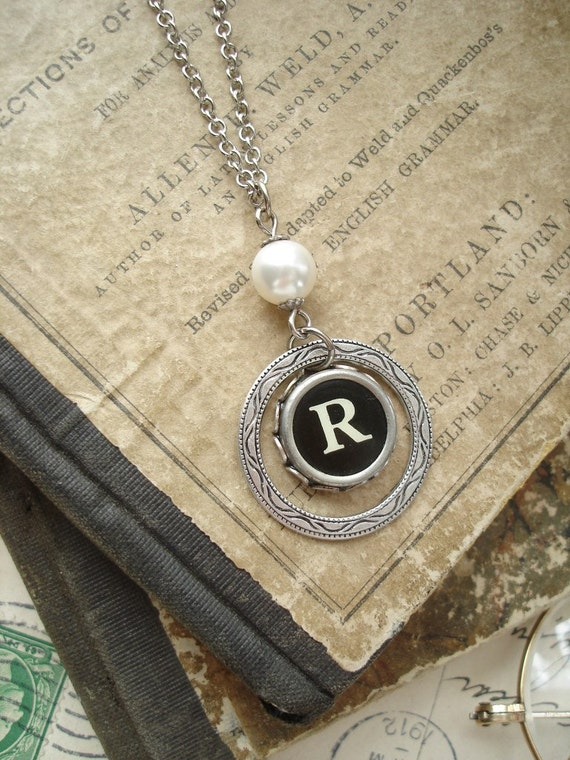 Antique Typewriter Key Jewelry - Black Letter R Vintage Typewriter Key Necklace. Silver Eternity Ring with White Pearl. Monogram Necklace.