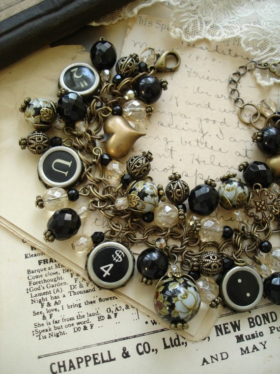 RESERVED / Typewriter Keys Bracelet - Champagne & Roses. Upcycled Vintage Assemblage Charm Bracelet. LAYAWAY PAYMENT 1.