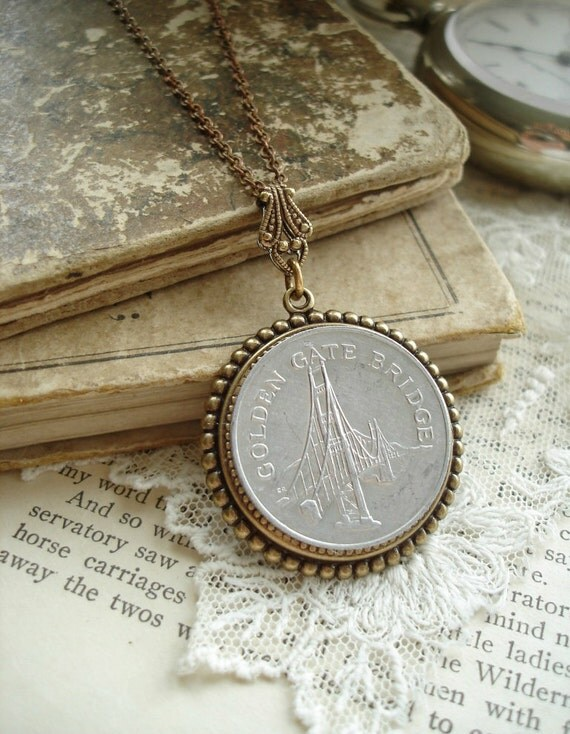 SAN FRANCISCO Necklace - Vintage Golden Gate Bridge Token Necklace in Antiqued Brass & Silver. Coin Necklace. Upcycled Jewelry.