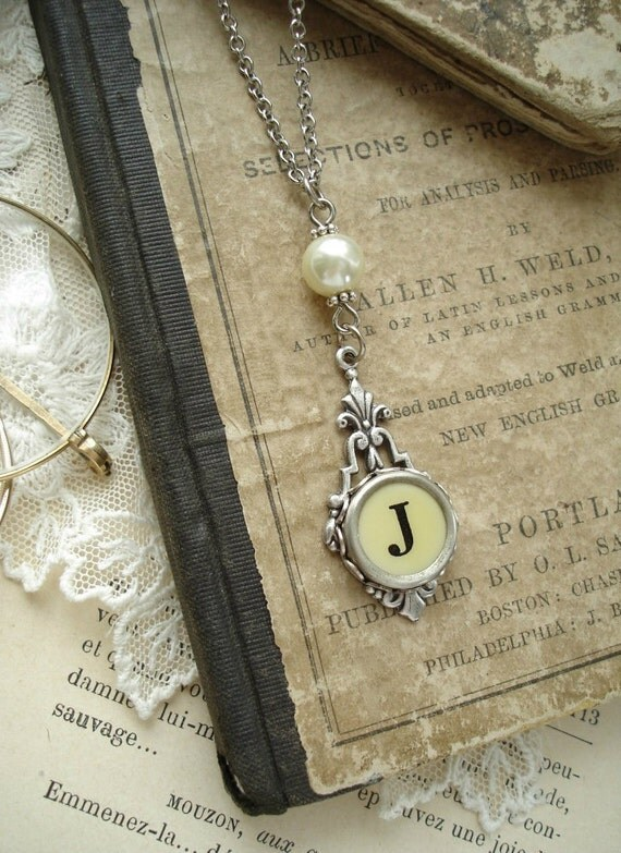 Typewriter Key Jewelry - Cream Letter J Necklace. Vintage Typewriter Key Necklace. Antique Silver with Ivory Glass Pearl. Monogram Necklace.