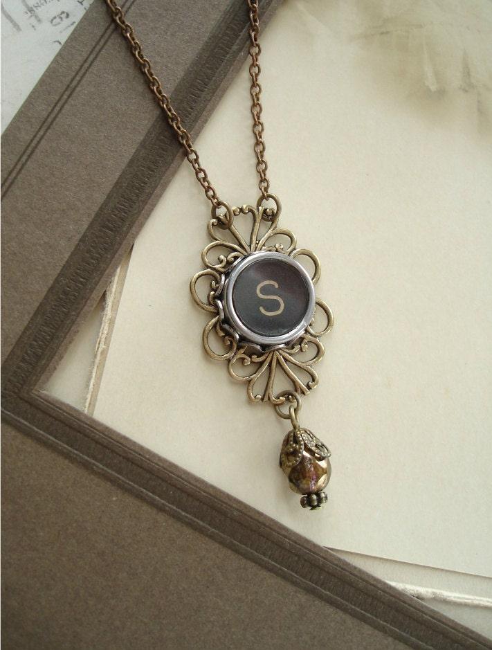 typewriter key jewelry black letter s vintage by