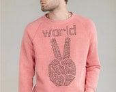 Mens sweater, Peace sweatshirt, Eco Fleece World Peace sweatshirt on Alternative Apparel