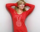 Womens Long Sleeve t shirt World Peace