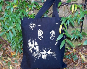 Back to School, Tote bag, Tiger, canvas tote, graphic, eight great colors, recycle, reuse, Tiger mascot, navy, purple, black, red