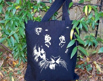 Shopping tote, Back to School, Tote bag, Tiger, canvas tote, graphic, recycle, reuse, Tiger mascot, navy, purple, black, red