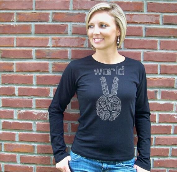 Peace Sign, orginal artwork, Womens shirt, World Peace tshirt, peace tee, long sleeve, peace for mom, peace t-shirt, gift for her, rctees