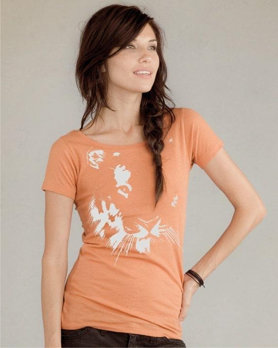 Womens t shirt - Tiger on Alternative Apparel Organic Cotton Scoop Neck tee