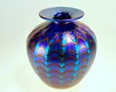 Cabinet Vase, Blue Luster, Red Zig-Zag