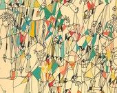 Vacances vente cirque - art abstrait mixte impression impression tirage d'art coloré