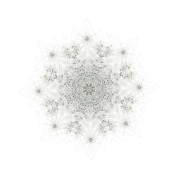 Nature Speaks art mandala creative meditation morning star art print giclee print creative visualization black and white