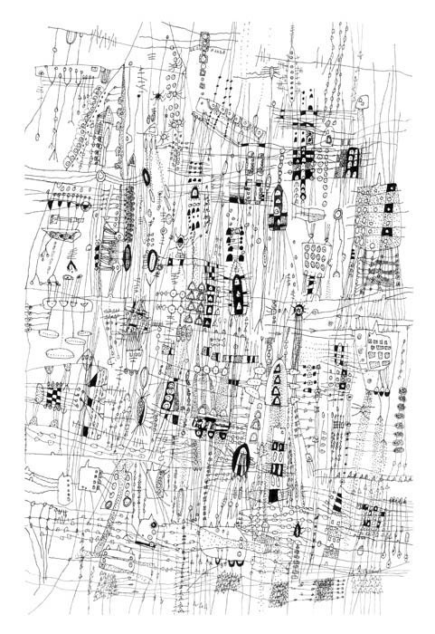 Line Drawing City : City life drawing line archival print of