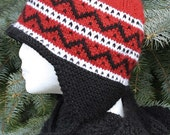 Red, Black and White Earflap Hat