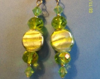 CANDY DROP ~ Earrings with Green Lampworked Glass and Silver Foiling -  with Genuine Crystals - FDK