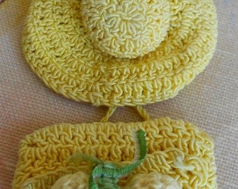 1940's Cheery Yellow Crochet Hat Pin