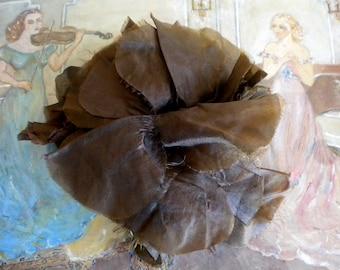 1930's Brown Silk Floppy Flower Pin