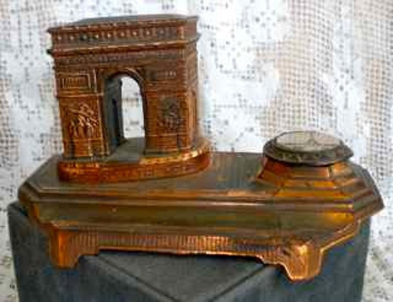 Vintage Brass Arc de Triomphe and Eiffel Tower Ink Well