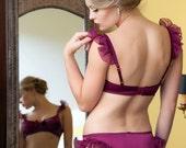 Tease - Flirtatious Raspberry Silk Panties with Ruffled Chiffon Flounce