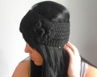 flower ear warmer / headband . eco friendly . vegan . PICK YOUR COLOR