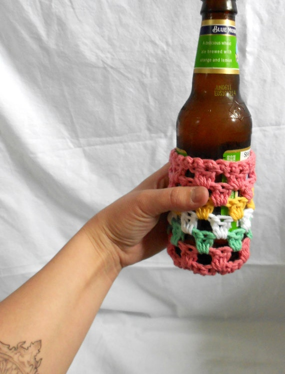 hand crocheted bottle or can cozy . koozie . multi colored .