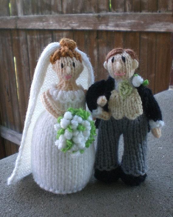Handknitted Wedding Cake Topper