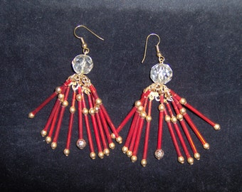 Holiday Glory Red  Bugle and Gold Bead Dangle/Chandelier Earrings