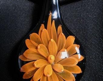 Gold Fumed Flower boro Glass Pendant