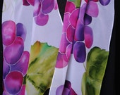 Hand Painted Silk Scarf Wine Country Grapes