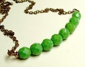 Bright Green Glass Bead Necklace Vintage Faceted Glass Beaded Bar