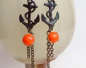 Long Brass Anchor Earrings Antiqued Brass Charms Vintage Orange Glass Nautical Dangles