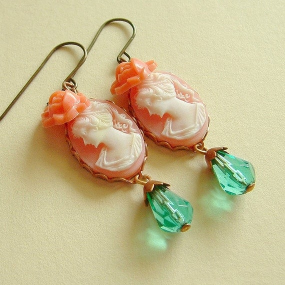 Peach Coral Pink and Aqua Floral Cameo Earrings Colorful Vintage Beads