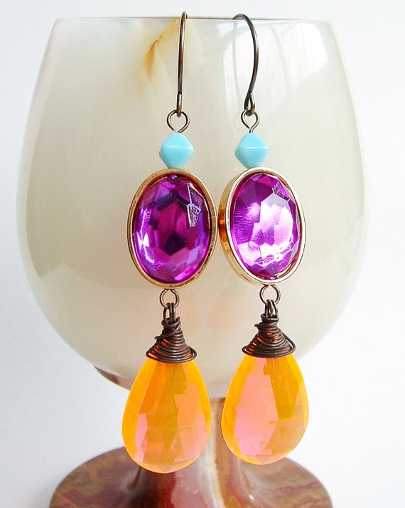 Large Neon Orange Earrings Vintage Plastic Sparkling Purple Tangerine Briolette Dangles