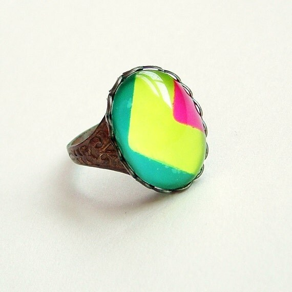 Funky Colorful 80s Neon Lime Ring Painted Vintage Striped Glass Cabochon