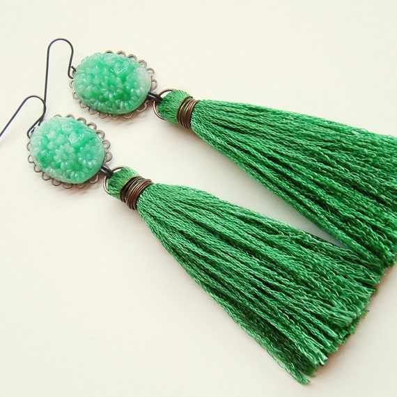 Carved Jade Tassel Earrings Vintage Glass Cabochons Green Thread Fringe Japanese Bouquet