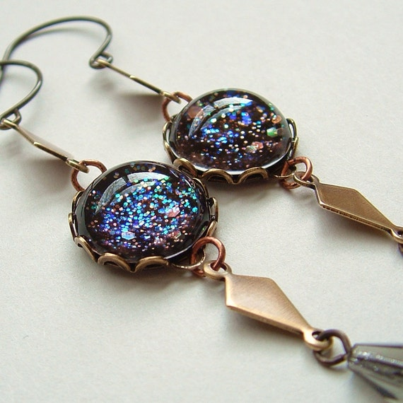 Galaxy Glitter Earrings Vintage Brass Domed Glass Black Rainbow Glitter Art Deco
