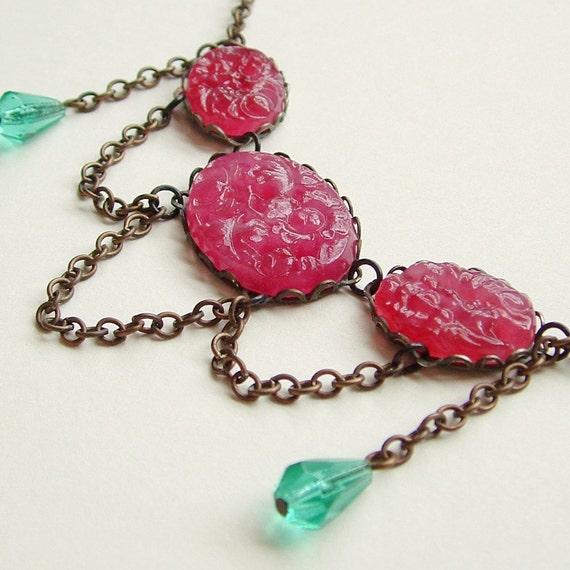 Pink Glass Stone Necklace Vintage Carved Floral Japanese Cabochons Antiqued Brass