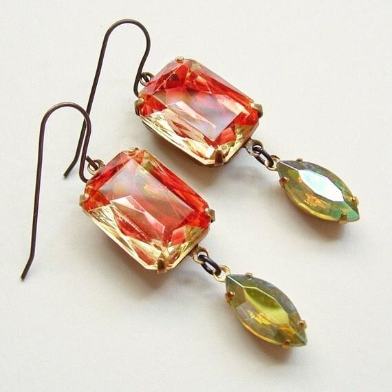 Vintage Rhinestone Earrings Large Glass Jewels Peaches and Cream Art Deco Jewelry