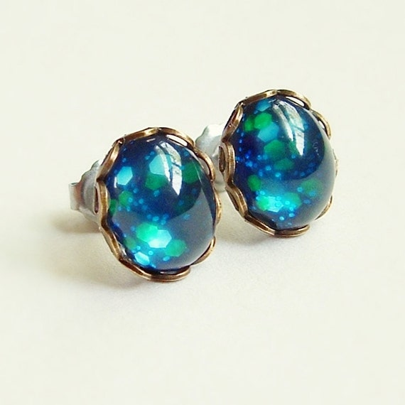 Small Blue Galaxy Glitter Earrings Vintage Domed Glass Cabochon Posts Hypoallergenic